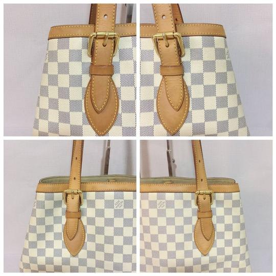 Louis Vuitton Lv Hampstead Hampstead Mm Damier Azur Canvas Hampstead Tote in White Image 6