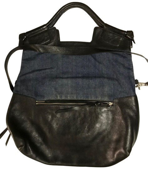 Preload https://img-static.tradesy.com/item/25404492/foley-corinna-city-tote-black-and-denim-leather-satchel-0-1-540-540.jpg