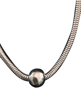 Silpada Sterling Silver flexible necklace with large hammered bead