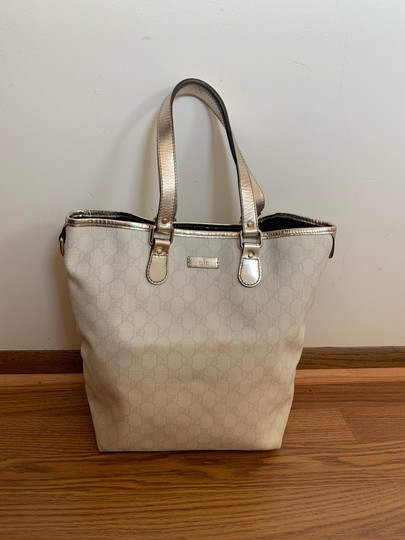 Preload https://item3.tradesy.com/images/gucci-whitesilver-canvas-tote-25404522-0-3.jpg?width=440&height=440