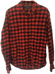 J.Crew Flannel Mens Womens Button Down Shirt Black and Orange Gingham