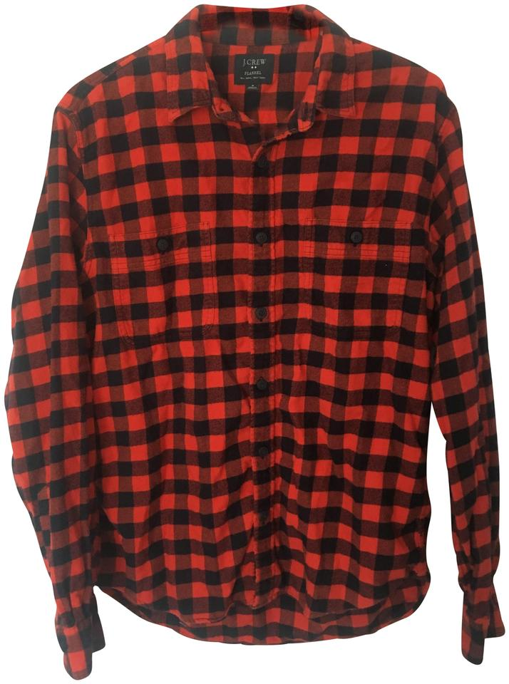 02f03219 J.Crew Flannel Mens Womens Button Down Shirt Black and Orange Gingham Image  0 ...