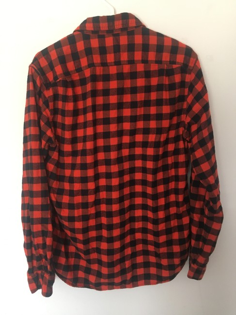 J.Crew Flannel Mens Womens Button Down Shirt Black and Orange Gingham Image 1