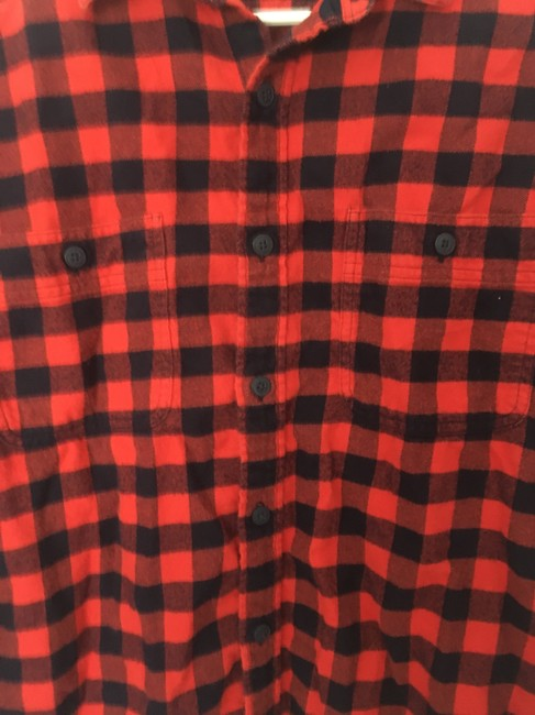 J.Crew Flannel Mens Womens Button Down Shirt Black and Orange Gingham Image 2