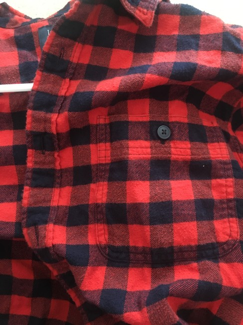 J.Crew Flannel Mens Womens Button Down Shirt Black and Orange Gingham Image 3