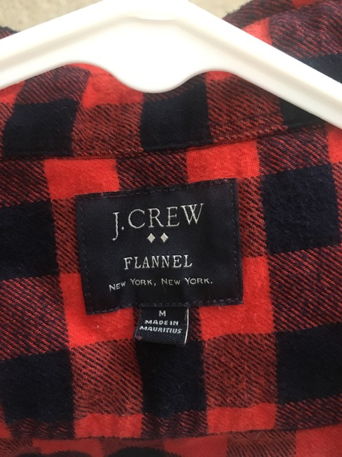 J.Crew Flannel Mens Womens Button Down Shirt Black and Orange Gingham Image 4