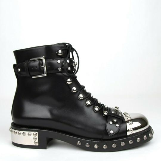 Alexander McQueen Women's Leather Lace Up Black Boots Image 4
