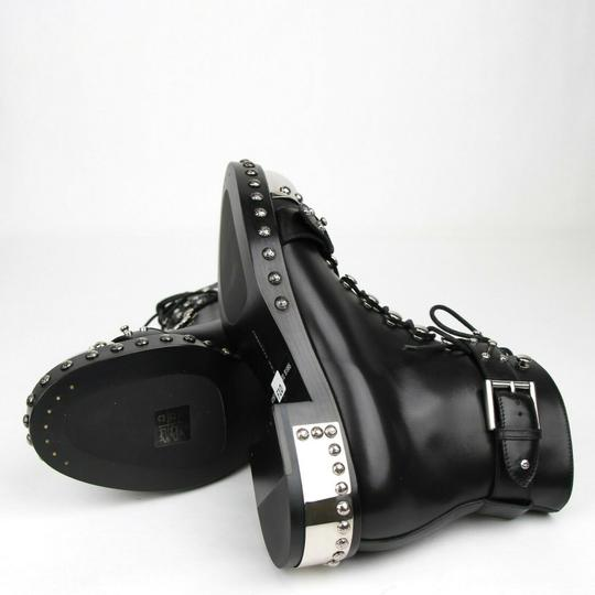 Alexander McQueen Women's Leather Lace Up Black Boots Image 8