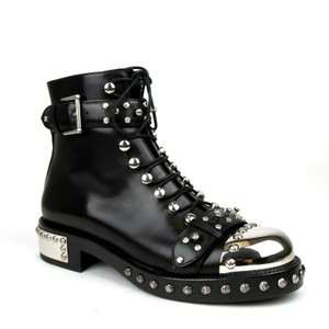 Alexander McQueen Women's Leather Lace Up Black Boots