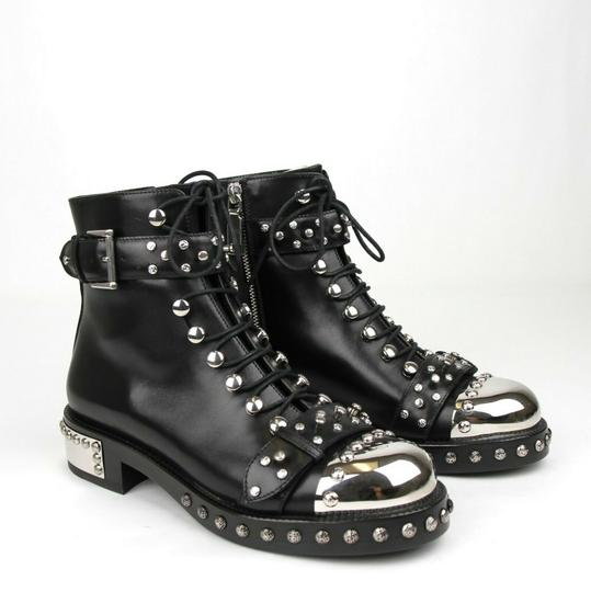 Alexander McQueen Women's Leather Lace Up Black Boots Image 2