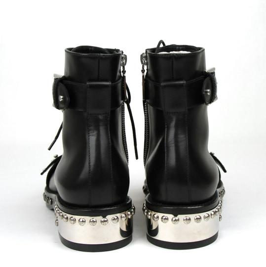 Alexander McQueen Women's Leather Lace Up Black Boots Image 3