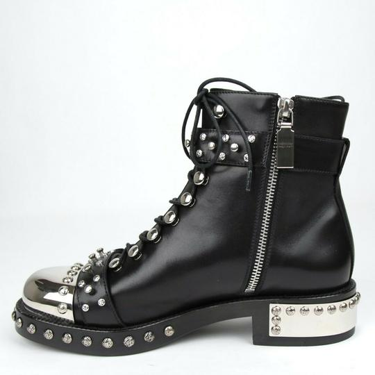 Alexander McQueen Women's Leather Lace Up Black Boots Image 5