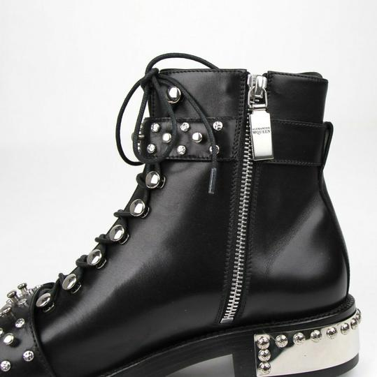 Alexander McQueen Women's Leather Lace Up Black Boots Image 6
