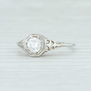 White Gold Art Deco .59ct Diamond 18k Size 8.25 Round Solitaire Engagement Ring