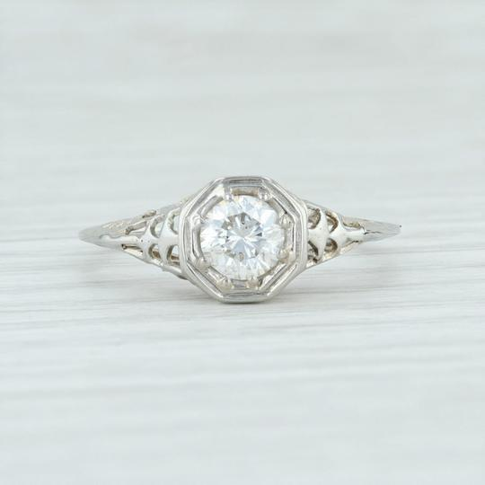 White Gold Art Deco .59ct Diamond 18k Size 8.25 Round Solitaire Engagement Ring Image 1