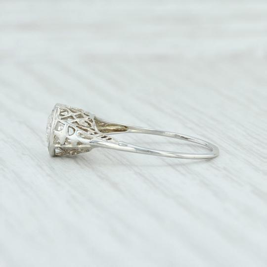 White Gold Art Deco .59ct Diamond 18k Size 8.25 Round Solitaire Engagement Ring Image 2