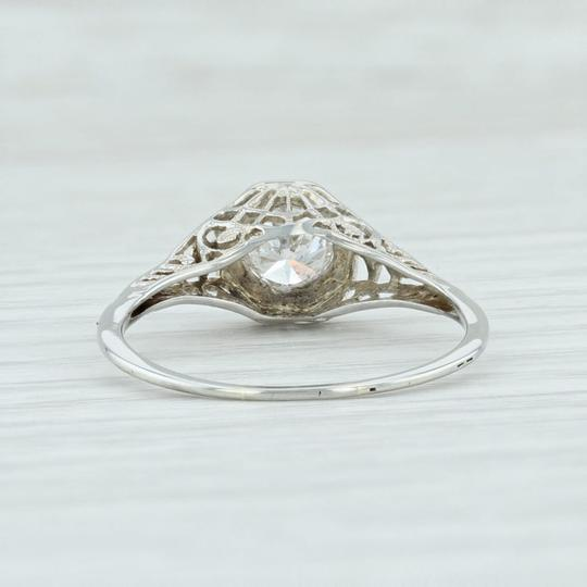 White Gold Art Deco .59ct Diamond 18k Size 8.25 Round Solitaire Engagement Ring Image 3