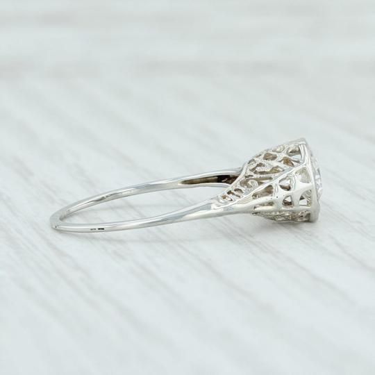 White Gold Art Deco .59ct Diamond 18k Size 8.25 Round Solitaire Engagement Ring Image 4