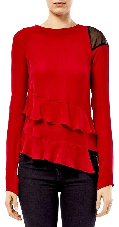 001063bede9 Nicole Miller Chili Red Asymmetric Ruffle Silk Blouse Size 4 (S ...
