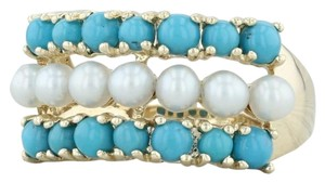 Other Cultured Pearl & Imitation Turquoise Ring - 14k Size 6 Cocktail