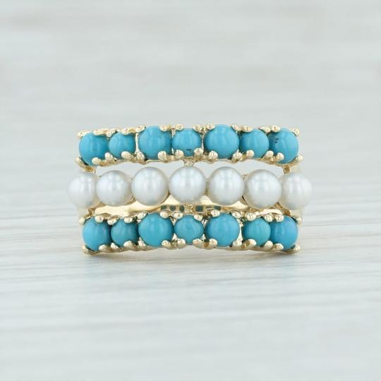 Other Cultured Pearl & Imitation Turquoise Ring - 14k Size 6 Cocktail Image 1
