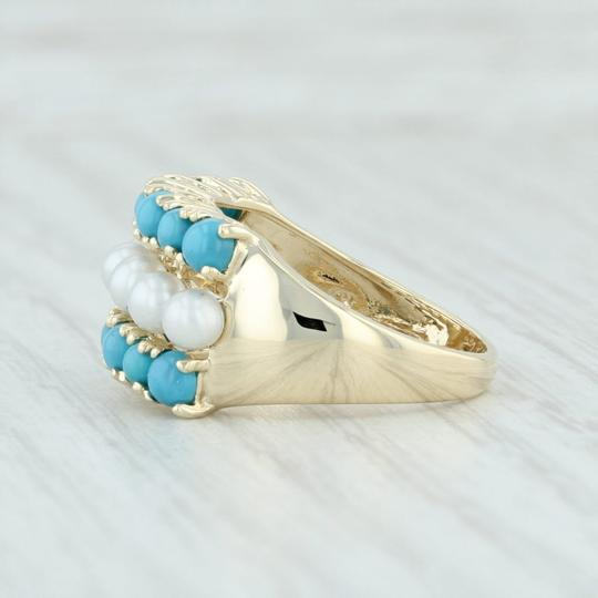 Other Cultured Pearl & Imitation Turquoise Ring - 14k Size 6 Cocktail Image 2