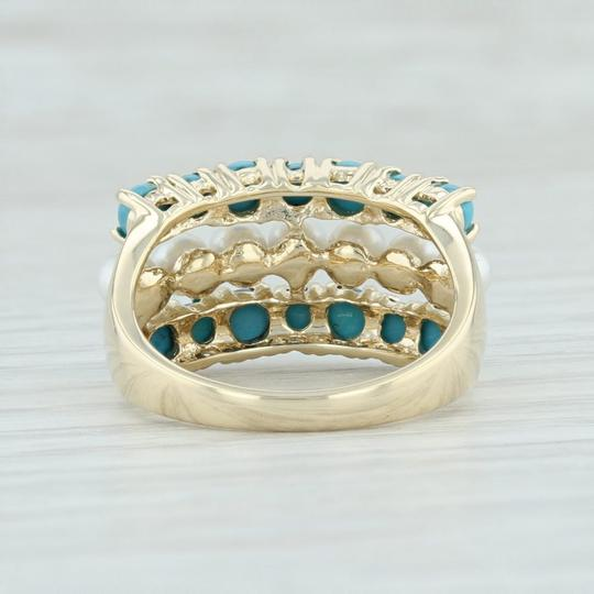 Other Cultured Pearl & Imitation Turquoise Ring - 14k Size 6 Cocktail Image 3