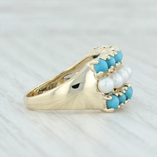 Other Cultured Pearl & Imitation Turquoise Ring - 14k Size 6 Cocktail Image 4