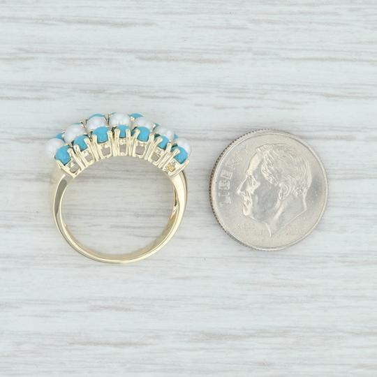 Other Cultured Pearl & Imitation Turquoise Ring - 14k Size 6 Cocktail Image 6