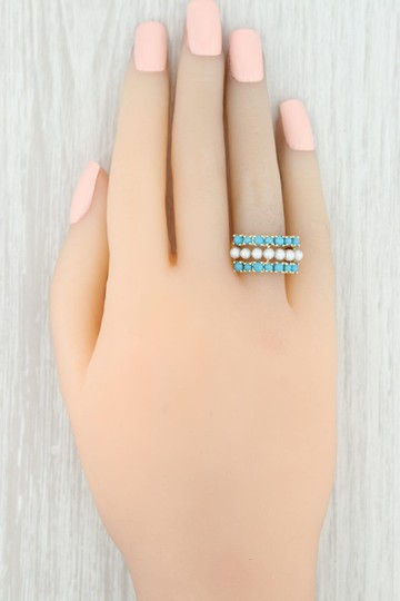 Other Cultured Pearl & Imitation Turquoise Ring - 14k Size 6 Cocktail Image 7