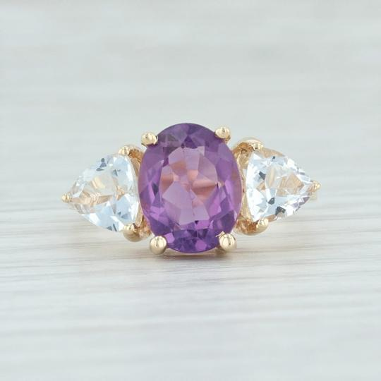 Other 3.80ctw Amethyst & Topaz Ring - 14k Size 7.75 Cocktail 3-Stone Image 1