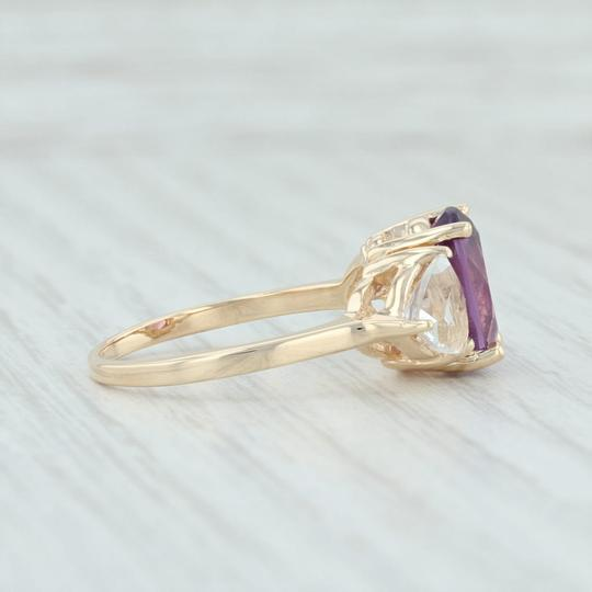 Other 3.80ctw Amethyst & Topaz Ring - 14k Size 7.75 Cocktail 3-Stone Image 4