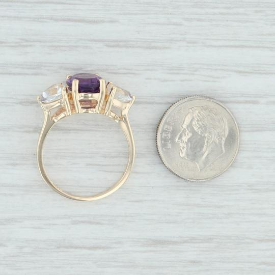 Other 3.80ctw Amethyst & Topaz Ring - 14k Size 7.75 Cocktail 3-Stone Image 5