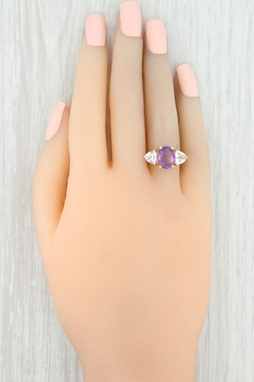 Other 3.80ctw Amethyst & Topaz Ring - 14k Size 7.75 Cocktail 3-Stone Image 6