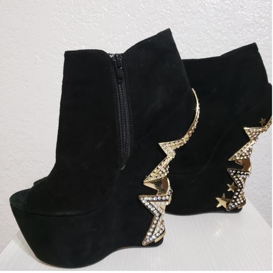 ZIGIny Black and Gold Wedges Image 3