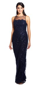 Adrianna Papell Halter Illusion Lace Embroidered Dress