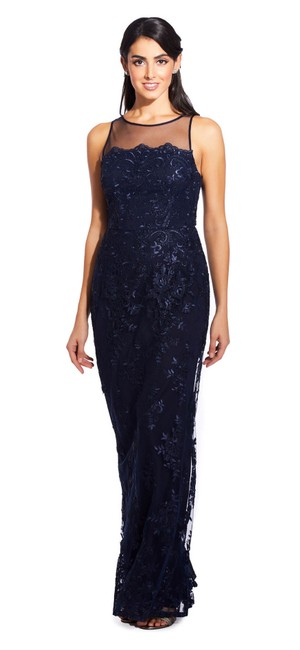 Adrianna Papell Halter Illusion Lace Embroidered Dress Image 2