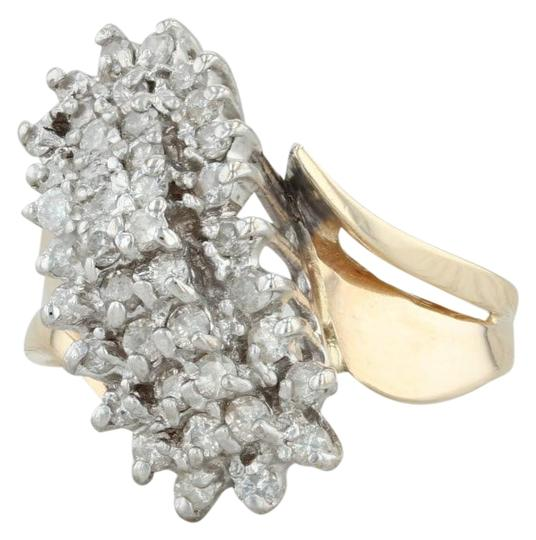 Other .90ctw Diamond Cluster Ring - 14k Size 8.5 Bypass Cocktail Image 0