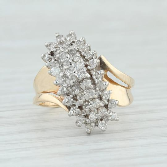 Other .90ctw Diamond Cluster Ring - 14k Size 8.5 Bypass Cocktail Image 1