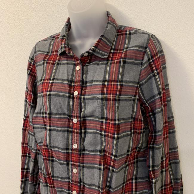 J.Crew Plaid Long Sleeve Button Front Perfect Button Down Shirt Image 4