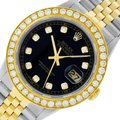 Rolex Mens Datejust Ss/Yellow Gold with Black Diamond Dial Watch Image 0