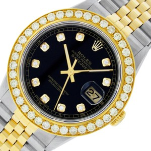 Rolex Mens Datejust Ss/Yellow Gold with Black Diamond Dial Watch