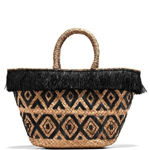 Kayu Summer Preppy Classic Casual Party Tote in Natural / Black