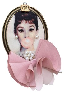 Other Audrey Hepburn Brooch Bubble Gum Crown Pearl Hair Pin Clip Queen