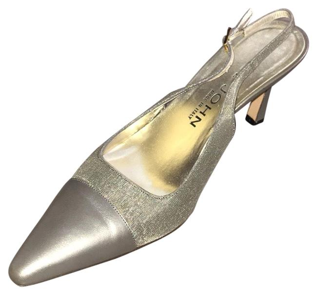 Item - Silver Leather Sling Backs Pumps Size US 7 Regular (M, B)