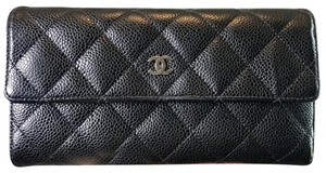 Chanel CHANEL BLACK CAVIAR QUILTED FLAP WALLET SHW