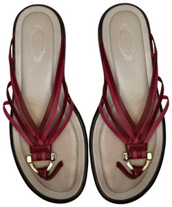 Tod's Flat Red & Bright Pink Sandals