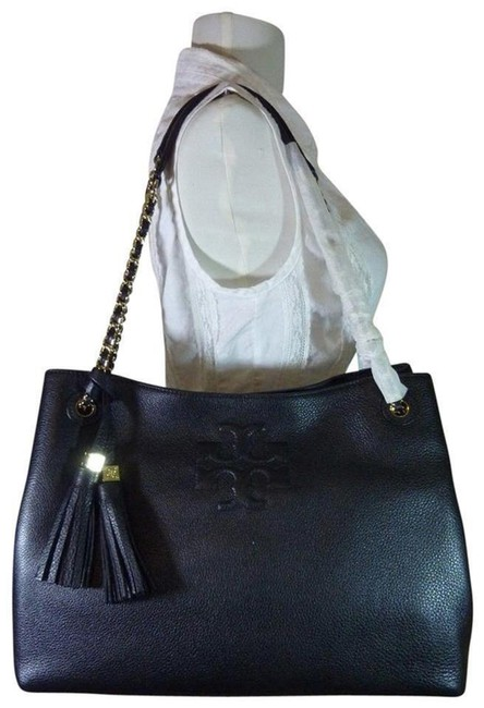 Tory Burch Thea Chain Slouchy Black Pebbled Leather Tote Tory Burch Thea Chain Slouchy Black Pebbled Leather Tote Image 1