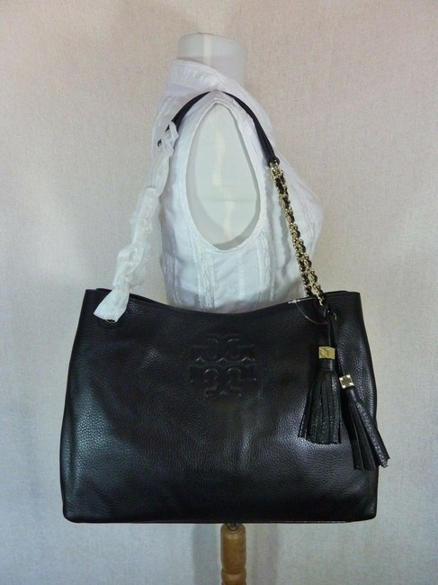 Tory Burch Thea Chain Slouchy Black Pebbled Leather Tote Tory Burch Thea Chain Slouchy Black Pebbled Leather Tote Image 2