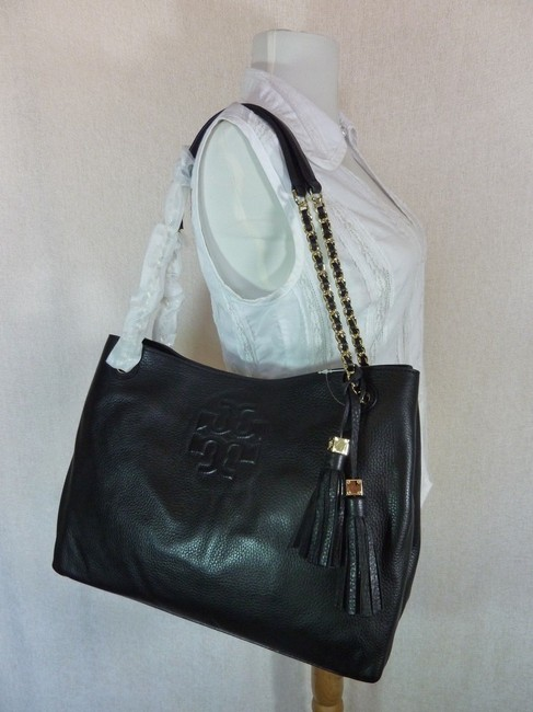 Tory Burch Thea Chain Slouchy Black Pebbled Leather Tote Tory Burch Thea Chain Slouchy Black Pebbled Leather Tote Image 3